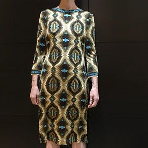 Tory Burch Silk Tribal Patterned Midi Dress.